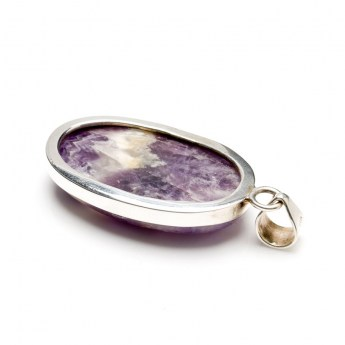 Banded amethyst gemstone pendant in a sterling silver setting