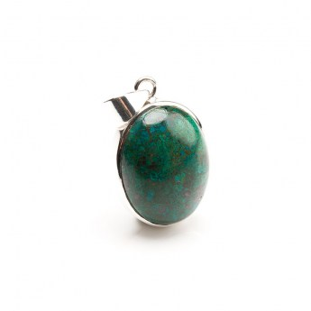 small oval shaped polished chrysocolla gemstone mounted as pendant in sterling silver