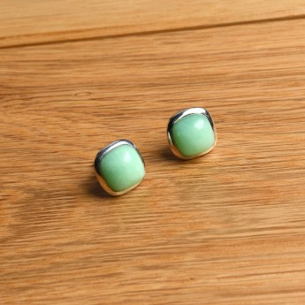 square shaped chrysoprase stud earrings crafted in sterling silver