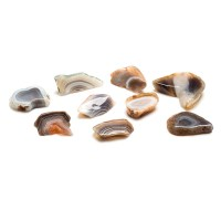 collection of small pieces of agate isolated on a white background
