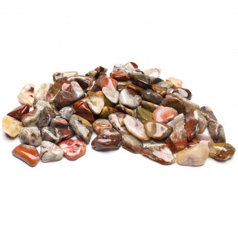 collection of crazy lace agate tumbled stones