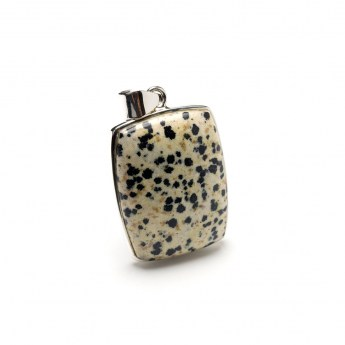 rectangular shaped dalmatian jasper gemstone pendant crafted in sterling silver