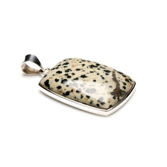 dalmatian jasper gemstone crafted as a ladies pendant in sterling silver