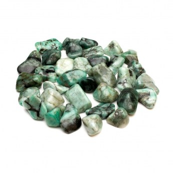 Collection of green emerald tumbled crystals