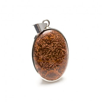 Fossilized Coral gemstone pendant crafted in sterling silver