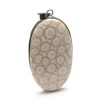 Large Fossilized Coral gemstone pendant crafted in sterling silver