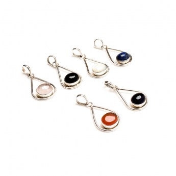 six sterling silver pendants each featuring a single oval shaped polished gemstone
