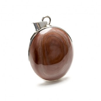 oval shaped imperial jasper gemstone crafted as a ladies pendant in sterling silver
