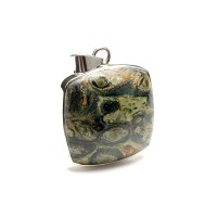 square shaped kambaba jasper polished cabochon crafted as a ladies pendant in sterling silver