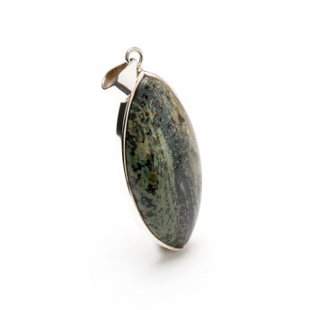 marquise shaped sterling silver pendant featuring a polished kambaba gemstone