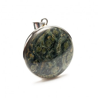 round kambaba jasper polished cabochon crafted as a ladies pendant in sterling silver