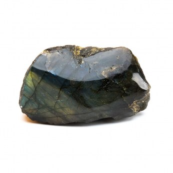 part polished labradorite mineral with exceptional iridescence