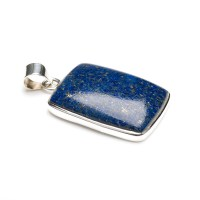 ladies sterling silver pendant featuring a blue lapis lazuli gemstone