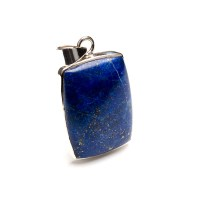 rectangular shaped navy blue coloured lapis lazuli gemstone mounted as a ladies pendant in sterling silver