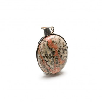 oval shaped leopardskin jasper gemstone crafted in a sterling silver setting