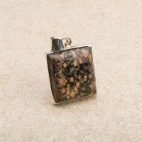 small square shaped leopardskin jasper gemstone pendant crafted in sterling silver