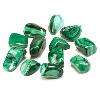 rich green coloured malachite tumbled stones