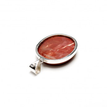 oval shaped mookaite gemstone mounted as a ladies pendant in sterling silver