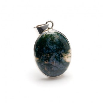 Moss agate gemstone mounted as a ladies pendant in sterling silver
