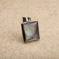 Black mother of pearl pendant crafted in sterling silver