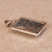 Rectangular shaped Picasso Jasper pendant in a sterling silver setting