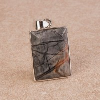 Rectangular shaped Picasso marble pendant in a sterling silver setting