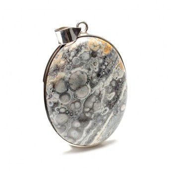 large sterling silver pendant featuring the gemstone poppy jasper