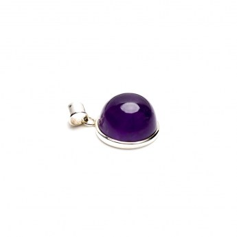 sterling silver ladies pendant featuring a bulbous amethyst crystal cabochon