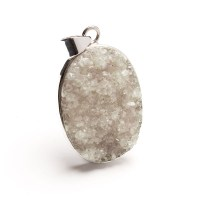 oval shaped quartz druzy necklace pendant mounted in sterling silver