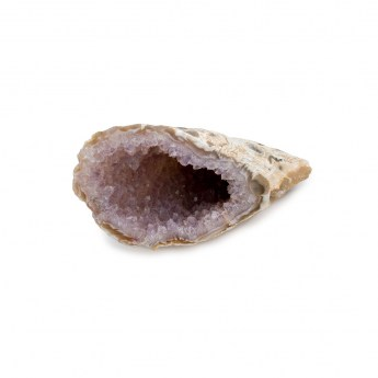 horn shaped quartz geode lined with minute sparkling crystals