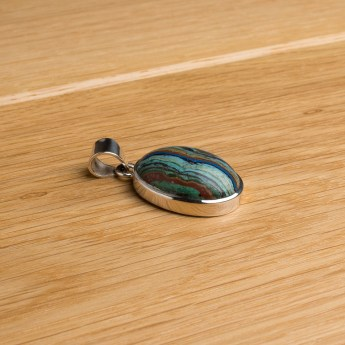 rainbow calsilica stone pendant crafted in sterling silver