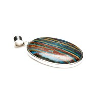 gemstone with colourful vertical stripes known as rainbow calsilica mounted as a ladies pendant