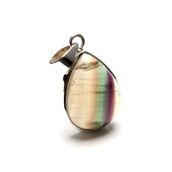 pear shaped rainbow fluorite pendant crafted in sterling silver