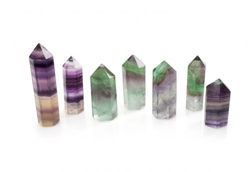 rainbow fluorite mineral carved as terminated points