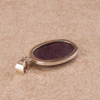 ruby zoisite ladies pendant in sterling silver