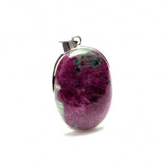 ruby zoisite gemstone crafted as a ladies pendant in sterling silver