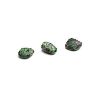 three ruby in zoisite tumbled stones