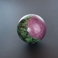 large polished ruby zoisite sphere