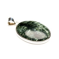 sterling silver ladies pendant featuring the gemstone seraphinite
