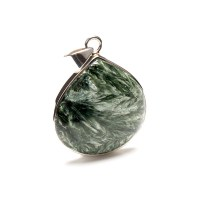 green coloured seraphinite gemstone crafted as a ladies pendant in a sterling silver setting