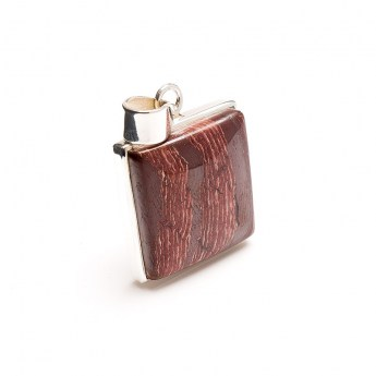 square shaped picture jasper gemstone crafted as a ladies pendant in sterling silver