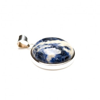 round sodalite gemstone mounted as a ladies pendant in sterling silver