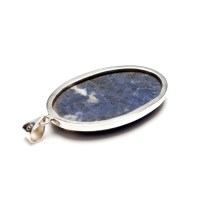 polished sodalite gemstone crafted as a ladies pendant in sterling silver