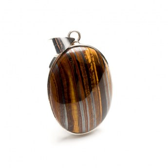 tiger iron gemstone pendant crafted in sterling silver