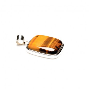 rectangular shaped tigers eye gemstone mounted as a ladies pendant in sterling silver