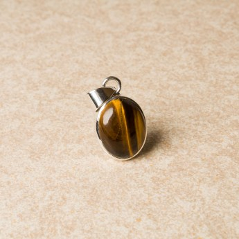 Tigers Eye ladies gemstone pendant crafted in sterling silver