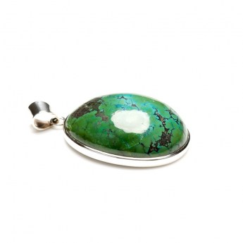bulbous turquoise cabochon mounted as a ladies pendant in sterling silver