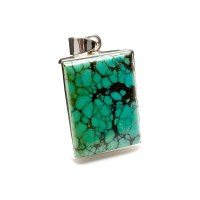 rectangular shaped turquoise pendant crafted in sterling silver