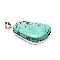 chunky turquoise ladies pendant crafted in fine sterling silver