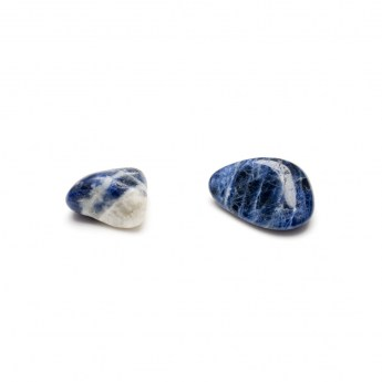 two sodalite tumbled stones side by side